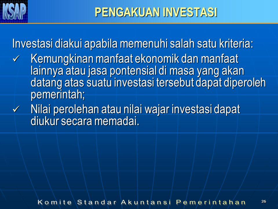 Investasi diakui apabila memenuhi salah satu kriteria:
