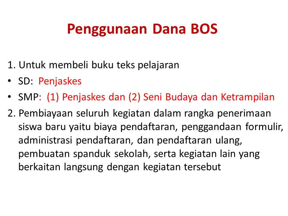 Penggunaan Dana BOS 1. Untuk membeli buku teks pelajaran SD: Penjaskes