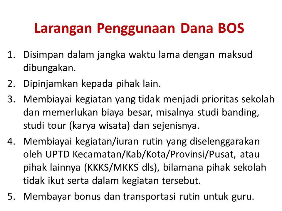 Larangan Penggunaan Dana BOS