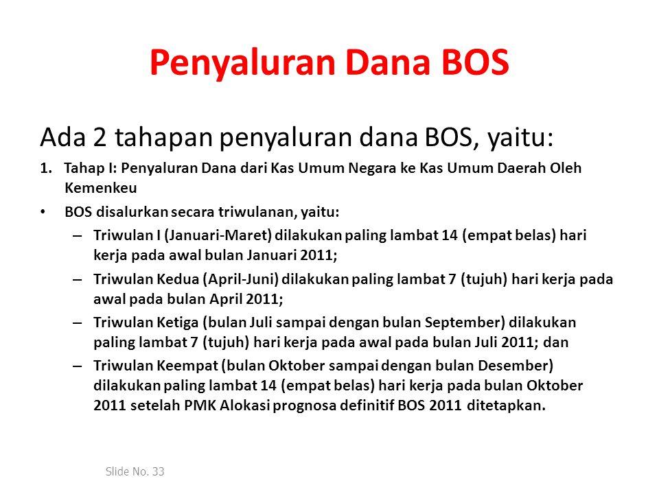 Penyaluran Dana BOS Ada 2 tahapan penyaluran dana BOS, yaitu: