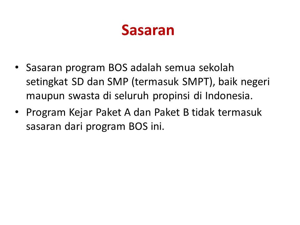 Sasaran Sasaran program BOS adalah semua sekolah setingkat SD dan SMP (termasuk SMPT), baik negeri maupun swasta di seluruh propinsi di Indonesia.