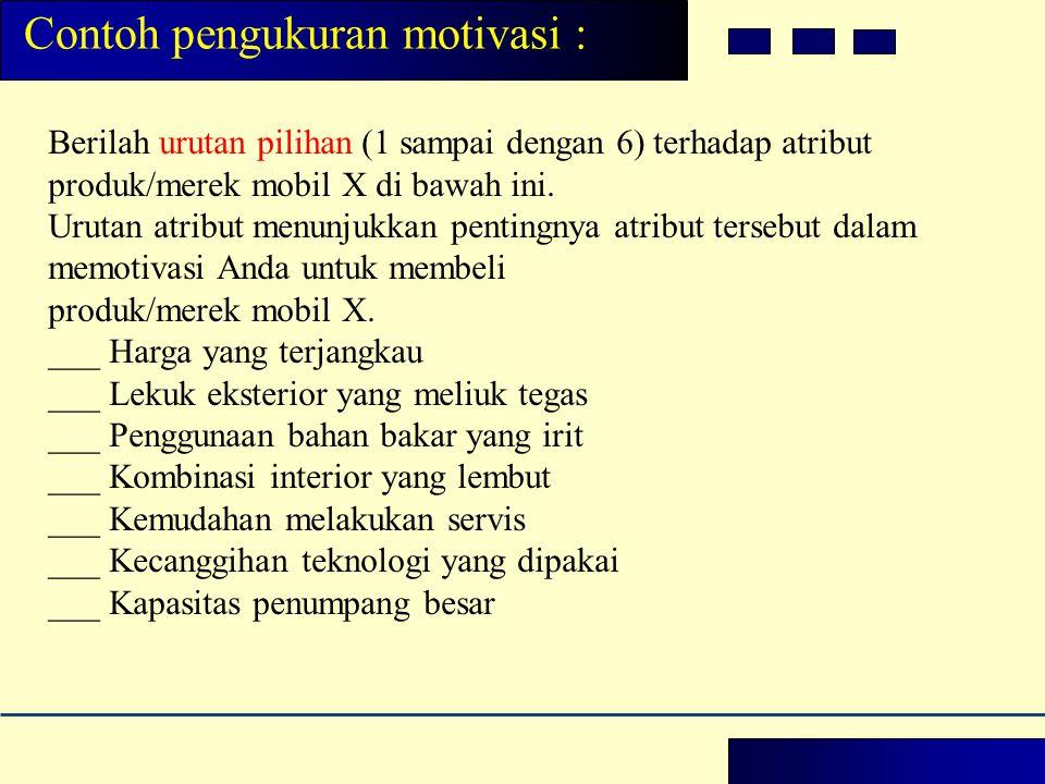 Contoh pengukuran motivasi :