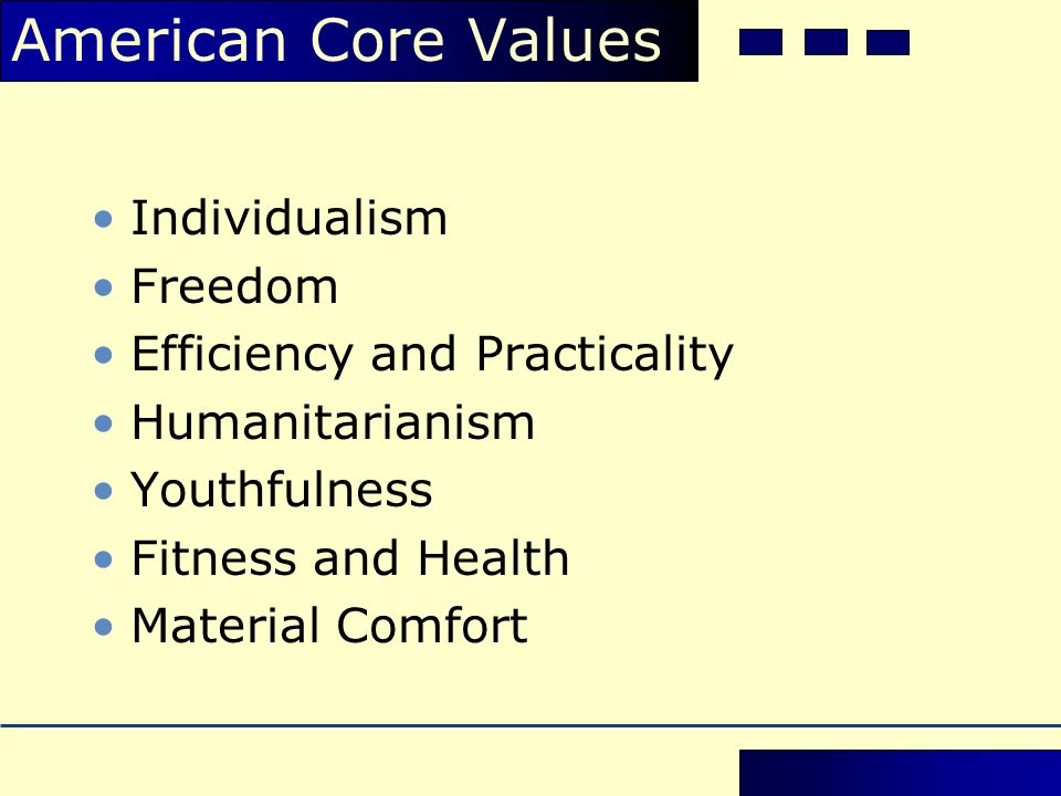 American Core Values Individualism Freedom Efficiency and Practicality