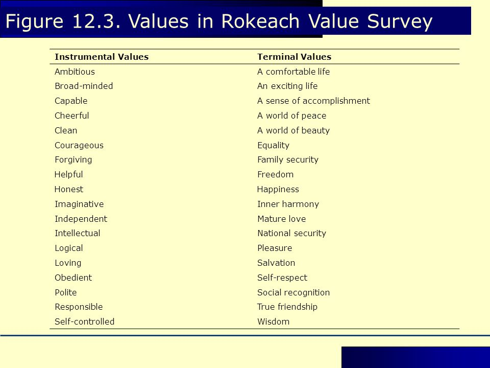 Figure 12.3. Values in Rokeach Value Survey