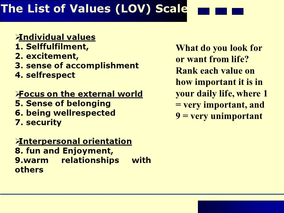 The List of Values (LOV) Scale