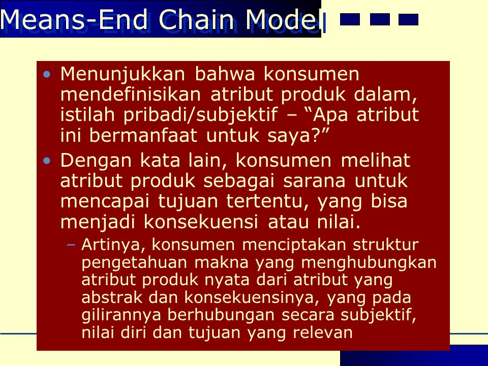 Means-End Chain Model