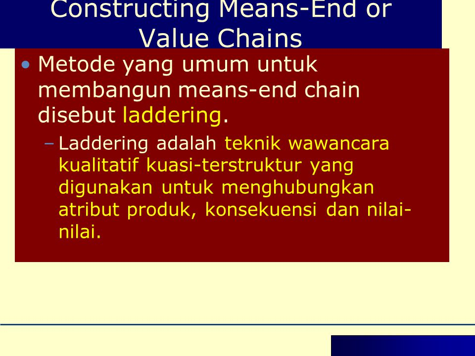 Constructing Means-End or Value Chains