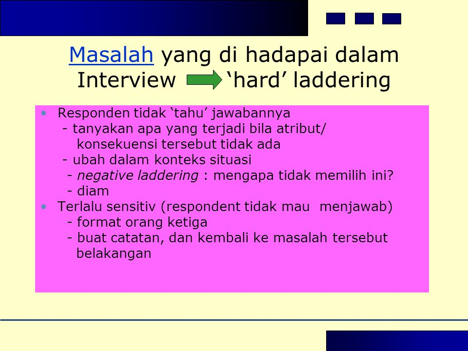 Masalah yang di hadapai dalam Interview 'hard' laddering