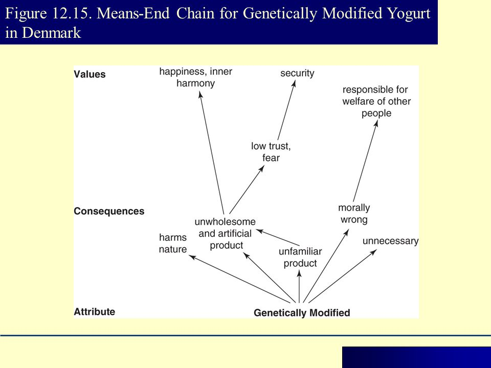 Figure 12.15. Means-End Chain for Genetically Modified Yogurt in Denmark