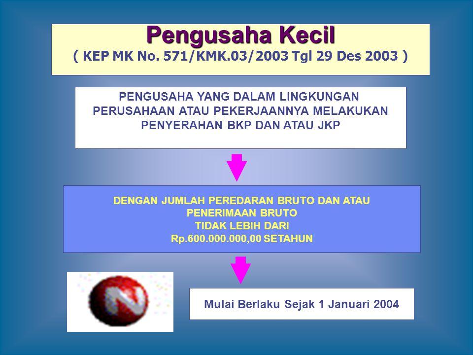 Pengusaha Kecil ( KEP MK No. 571/KMK.03/2003 Tgl 29 Des 2003 )