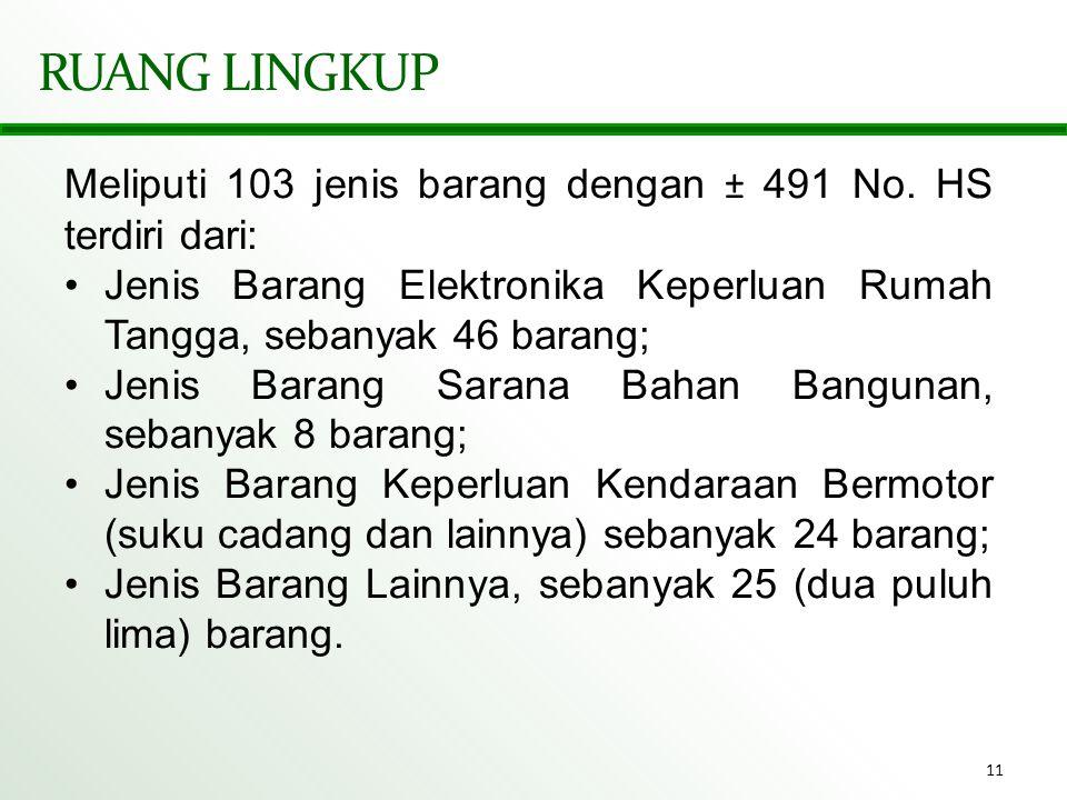 RUANG LINGKUP Meliputi 103 jenis barang dengan ± 491 No. HS terdiri dari: Jenis Barang Elektronika Keperluan Rumah Tangga, sebanyak 46 barang;