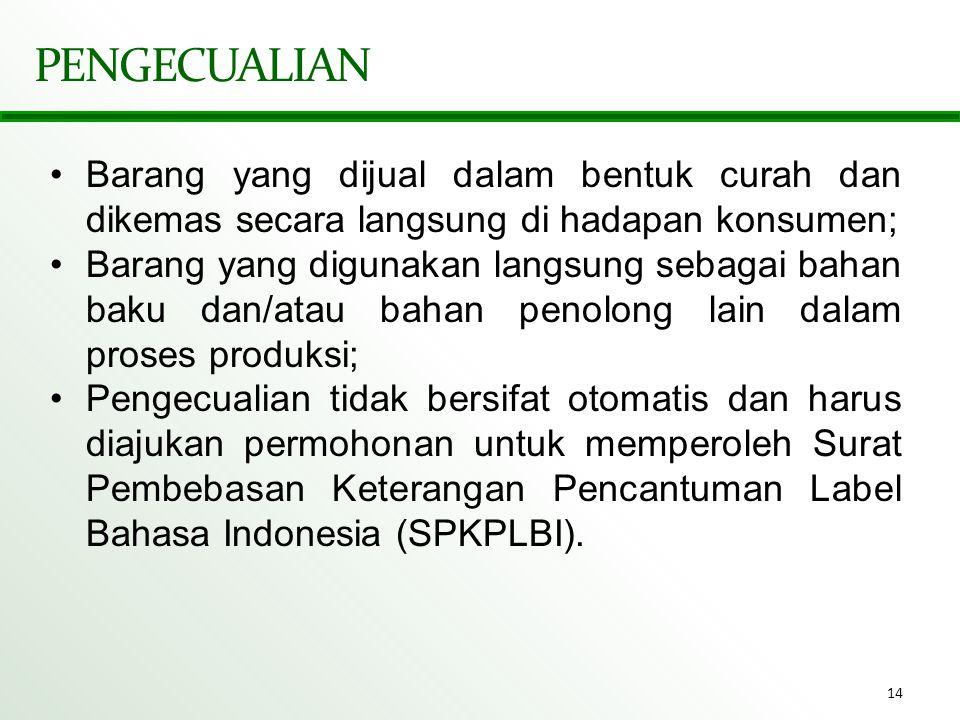 PENGECUALIAN Barang yang dijual dalam bentuk curah dan dikemas secara langsung di hadapan konsumen;