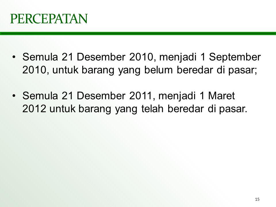 PERCEPATAN Semula 21 Desember 2010, menjadi 1 September 2010, untuk barang yang belum beredar di pasar;