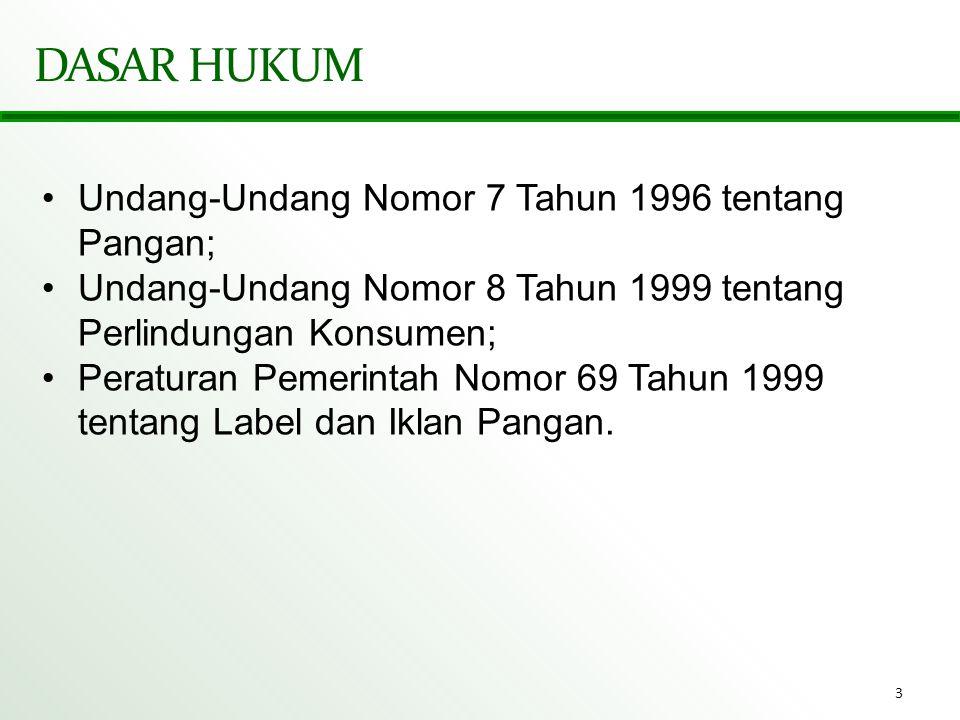 DASAR HUKUM Undang-Undang Nomor 7 Tahun 1996 tentang Pangan;