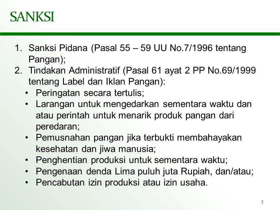 SANKSI Sanksi Pidana (Pasal 55 – 59 UU No.7/1996 tentang Pangan);
