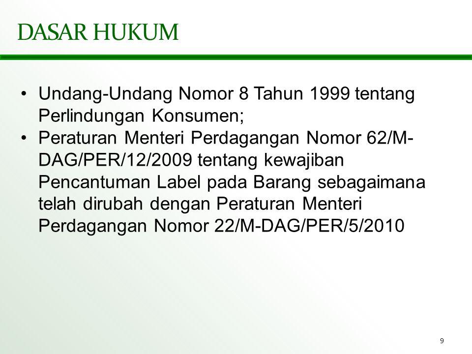 DASAR HUKUM Undang-Undang Nomor 8 Tahun 1999 tentang Perlindungan Konsumen;