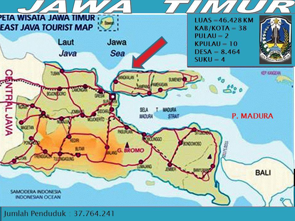 JAWA TIMUR P. MADURA Jumlah Penduduk : 37.764.241 LUAS =46.428 KM