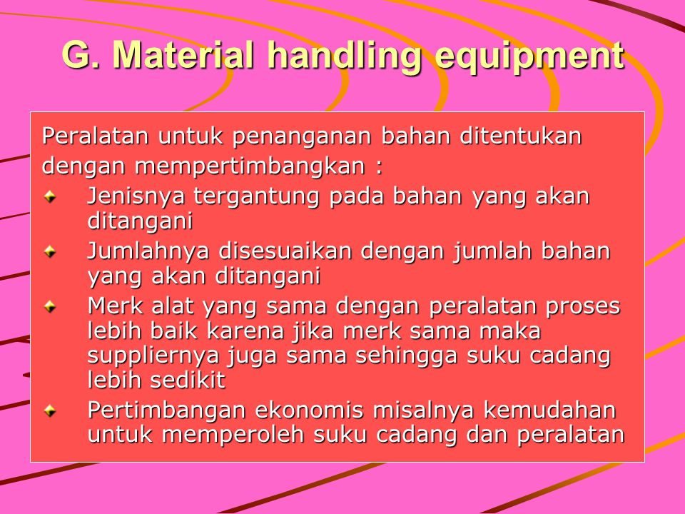 G. Material handling equipment