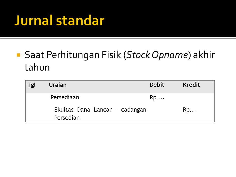 Jurnal standar Saat Perhitungan Fisik (Stock Opname) akhir tahun Tgl