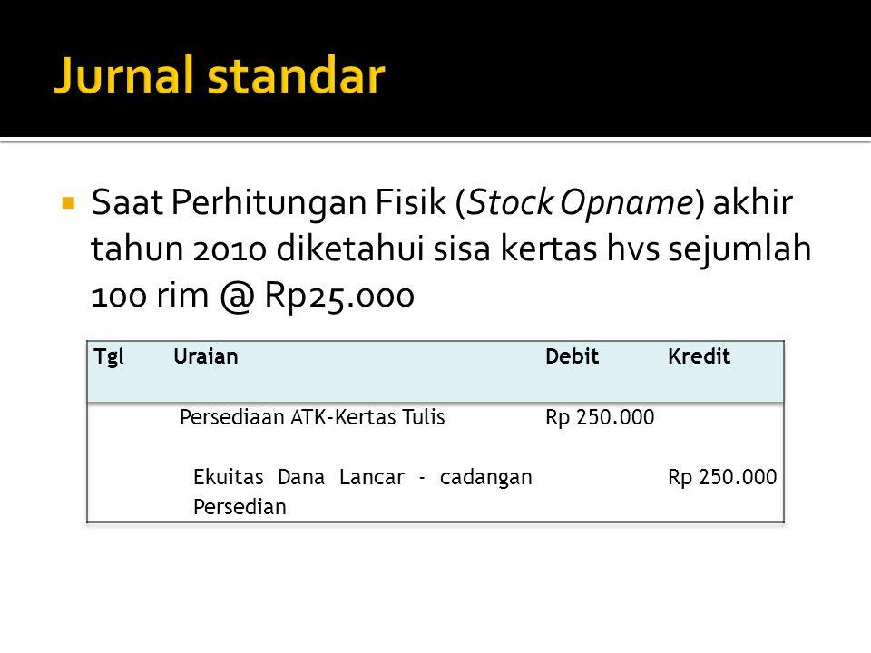 Jurnal standar Saat Perhitungan Fisik (Stock Opname) akhir tahun 2010 diketahui sisa kertas hvs sejumlah 100 rim @ Rp25.000.