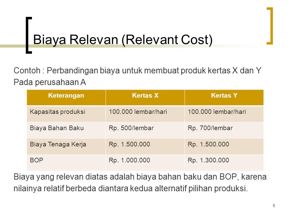 Biaya Relevan (Relevant Cost)