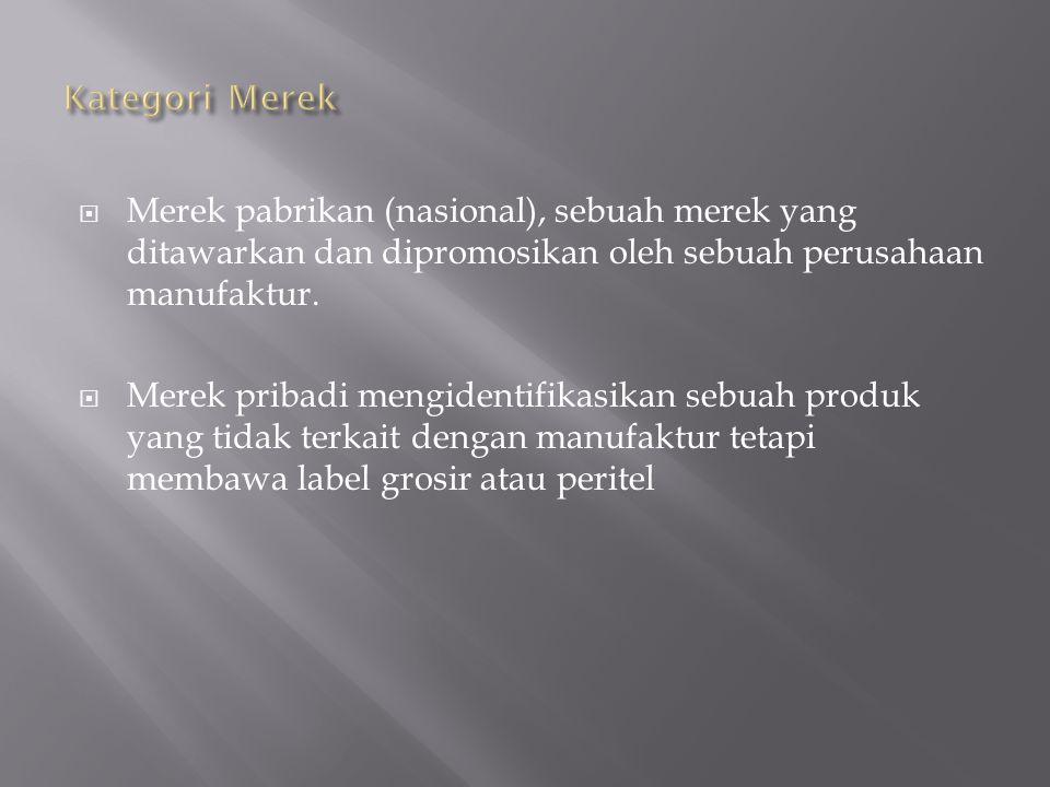 Kategori Merek Merek pabrikan (nasional), sebuah merek yang ditawarkan dan dipromosikan oleh sebuah perusahaan manufaktur.