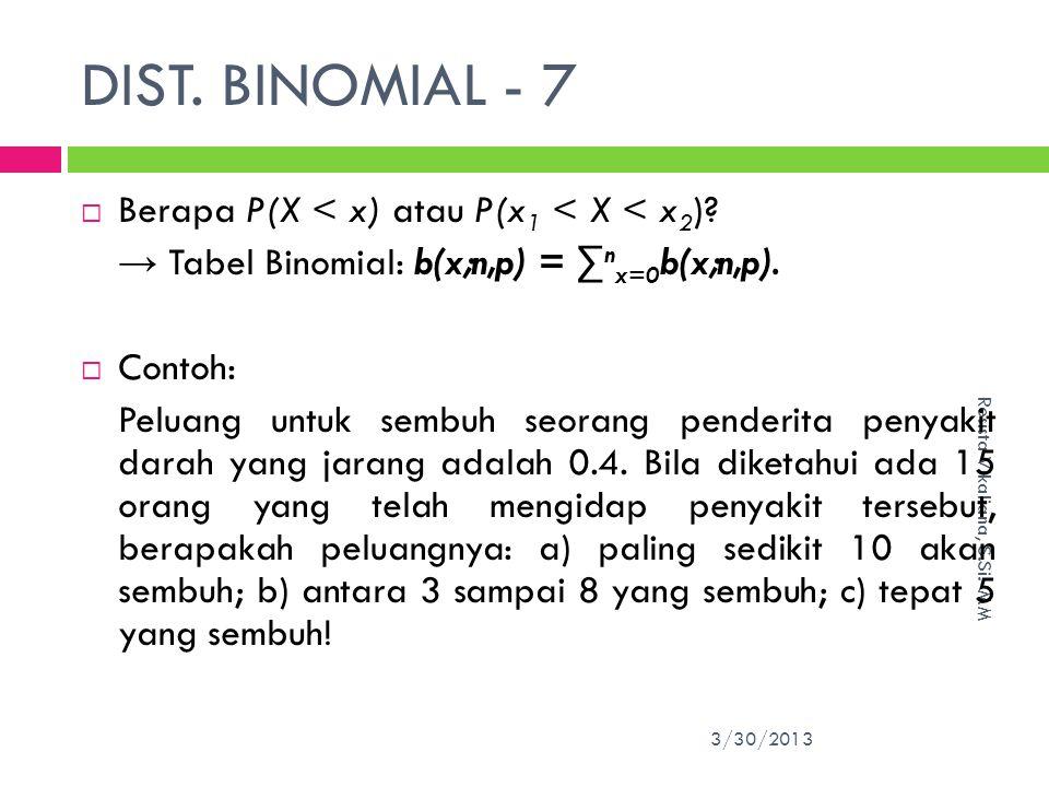 DIST. BINOMIAL - 7 Berapa P(X < x) atau P(x1 < X < x2)