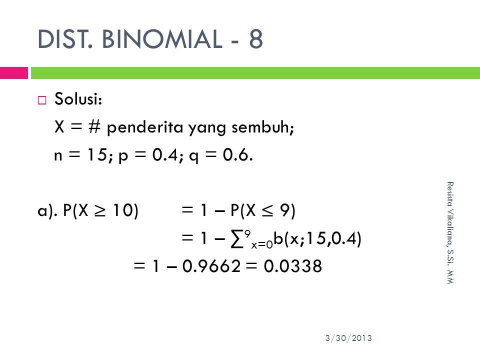 DIST. BINOMIAL - 8 Solusi: X = # penderita yang sembuh;