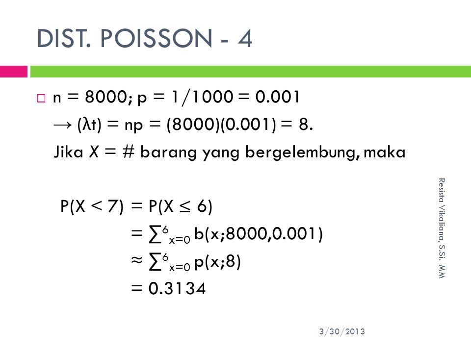 DIST. POISSON - 4 n = 8000; p = 1/1000 = 0.001. → (λt) = np = (8000)(0.001) = 8. Jika X = # barang yang bergelembung, maka.
