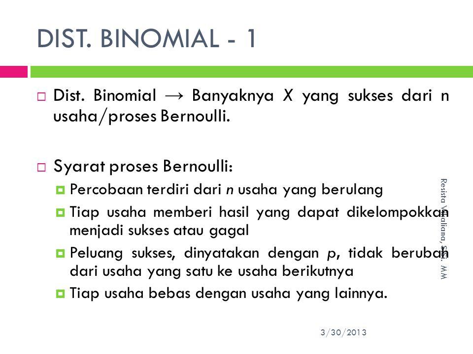 DIST. BINOMIAL - 1 Dist. Binomial → Banyaknya X yang sukses dari n usaha/proses Bernoulli. Syarat proses Bernoulli: