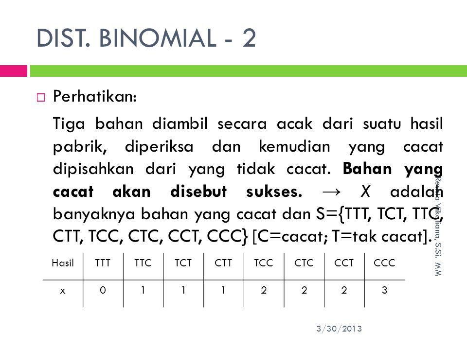DIST. BINOMIAL - 2 Perhatikan:
