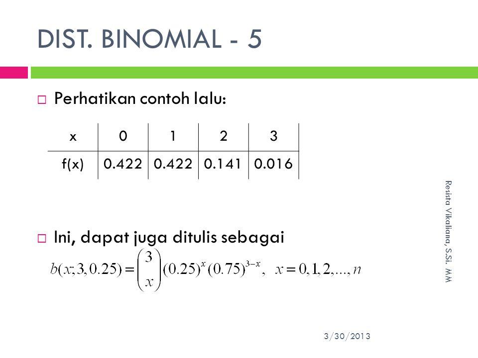 DIST. BINOMIAL - 5 Perhatikan contoh lalu: