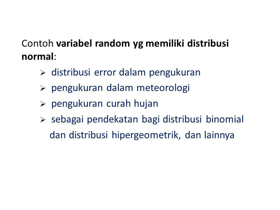 Contoh variabel random yg memiliki distribusi normal: