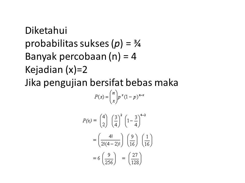 Diketahui probabilitas sukses (p) = ¾. Banyak percobaan (n) = 4.