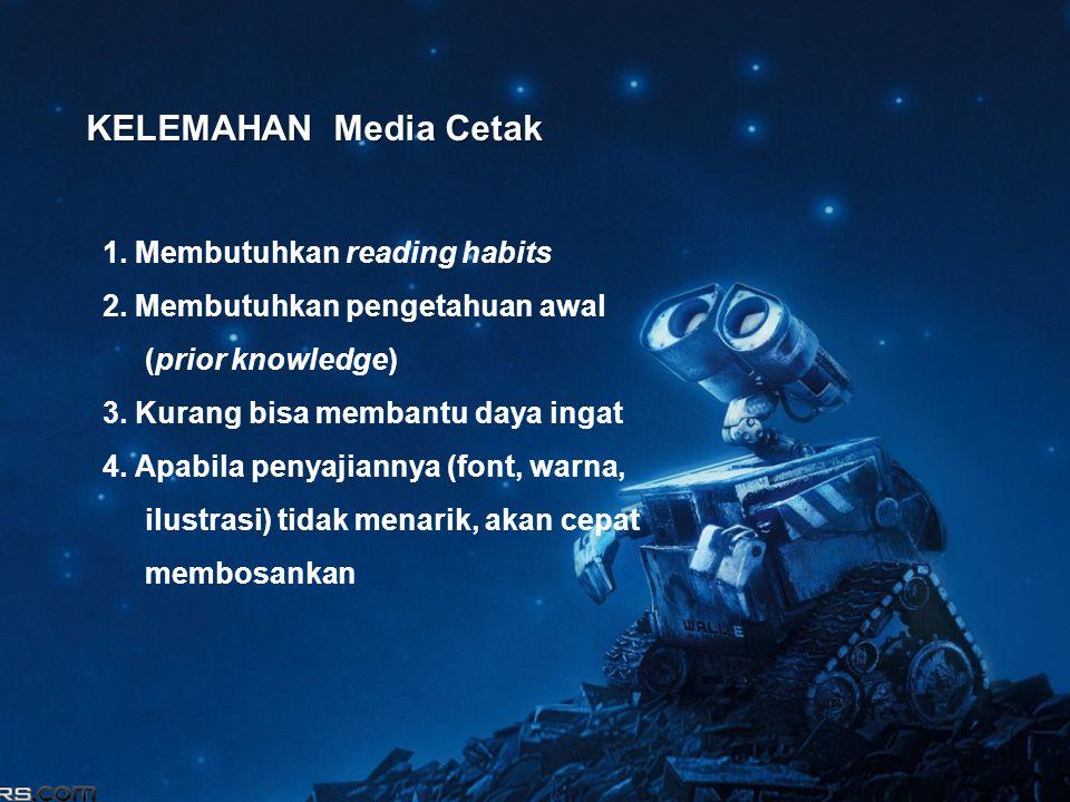 KELEMAHAN Media Cetak 1. Membutuhkan reading habits