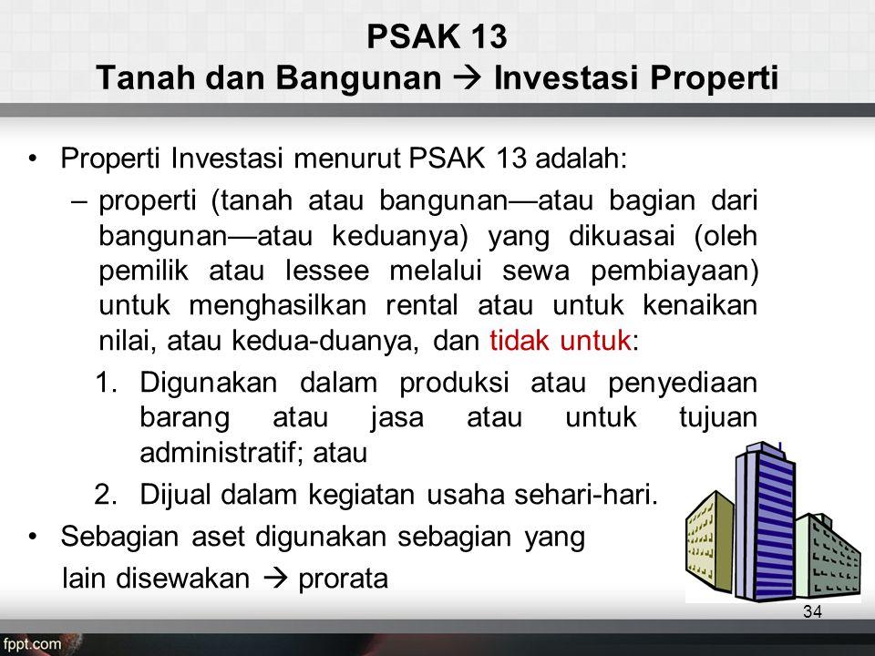 PSAK 13 Tanah dan Bangunan  Investasi Properti
