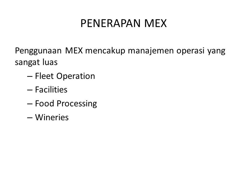 PENERAPAN MEX Penggunaan MEX mencakup manajemen operasi yang sangat luas. Fleet Operation. Facilities.
