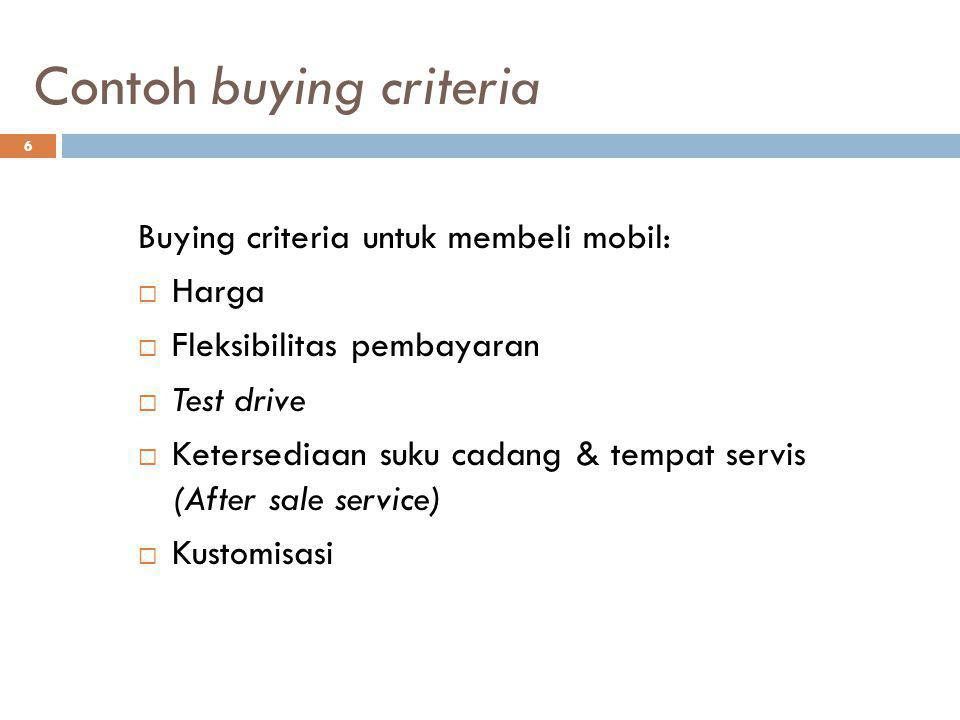 Contoh buying criteria