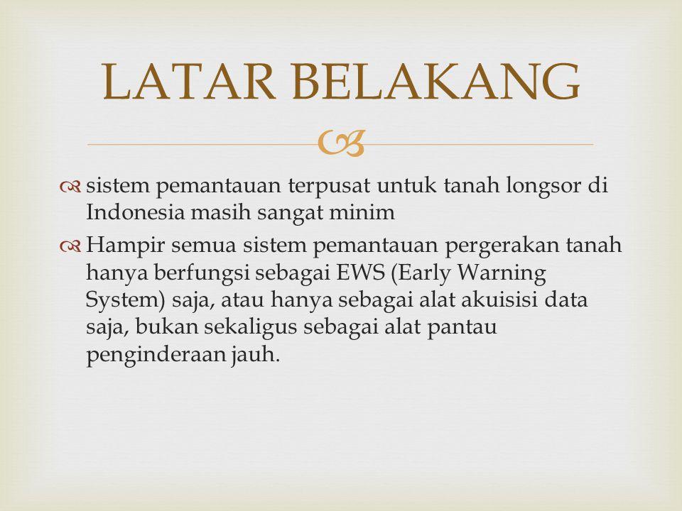 LATAR BELAKANG sistem pemantauan terpusat untuk tanah longsor di Indonesia masih sangat minim.