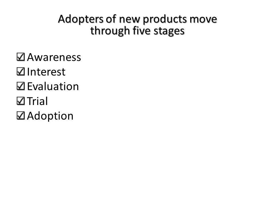 Adopters of new products move through five stages