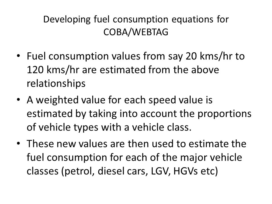 Developing fuel consumption equations for COBA/WEBTAG