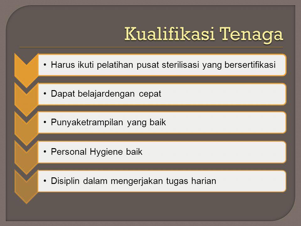 Kualifikasi Tenaga Harus ikuti pelatihan pusat sterilisasi yang bersertifikasi. Dapat belajardengan cepat.