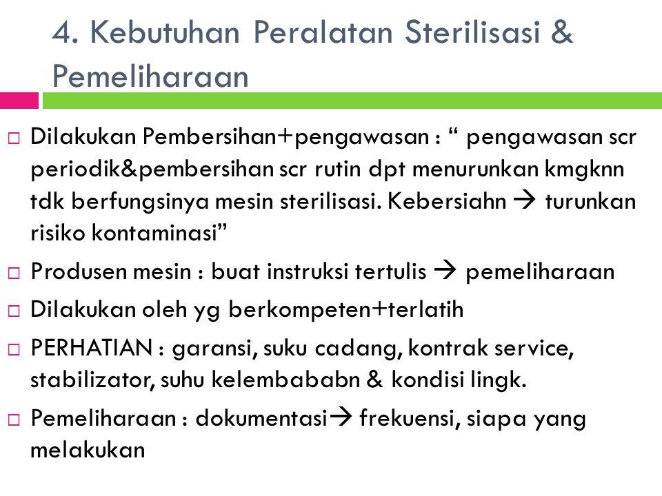 4. Kebutuhan Peralatan Sterilisasi & Pemeliharaan