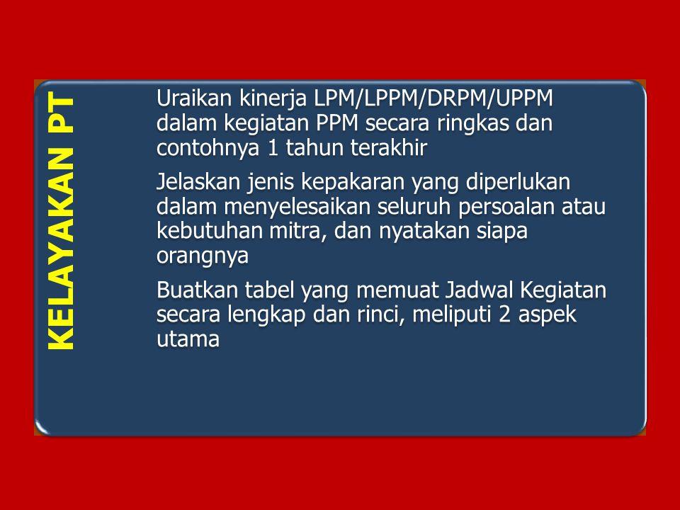 KELAYAKAN PT Uraikan kinerja LPM/LPPM/DRPM/UPPM dalam kegiatan PPM secara ringkas dan contohnya 1 tahun terakhir.