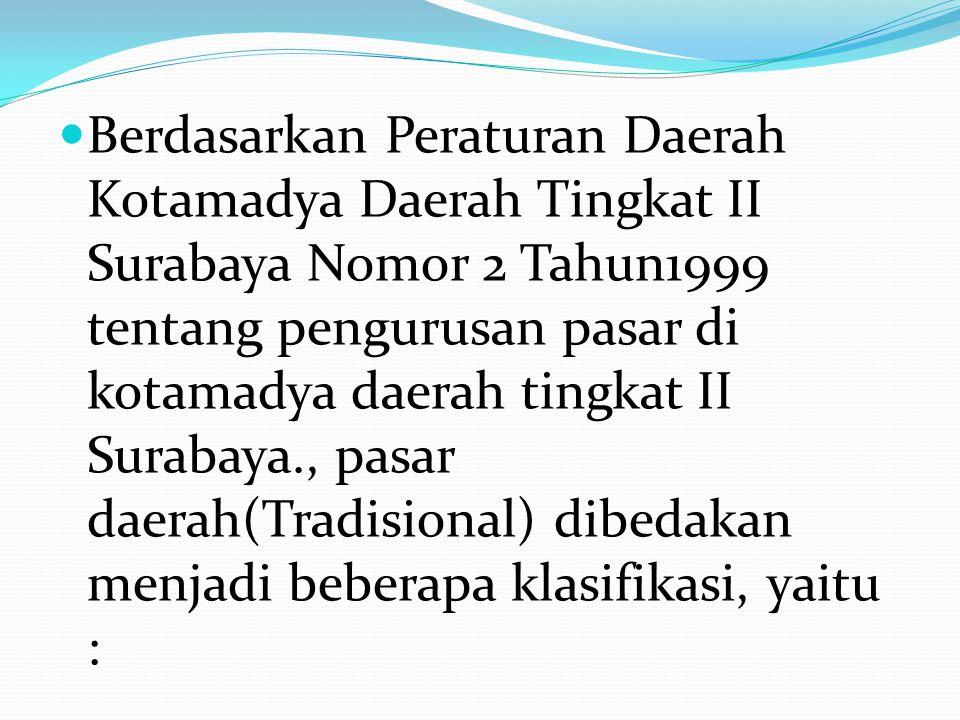 Berdasarkan Peraturan Daerah Kotamadya Daerah Tingkat II Surabaya Nomor 2 Tahun1999 tentang pengurusan pasar di kotamadya daerah tingkat II Surabaya., pasar daerah(Tradisional) dibedakan menjadi beberapa klasifikasi, yaitu :