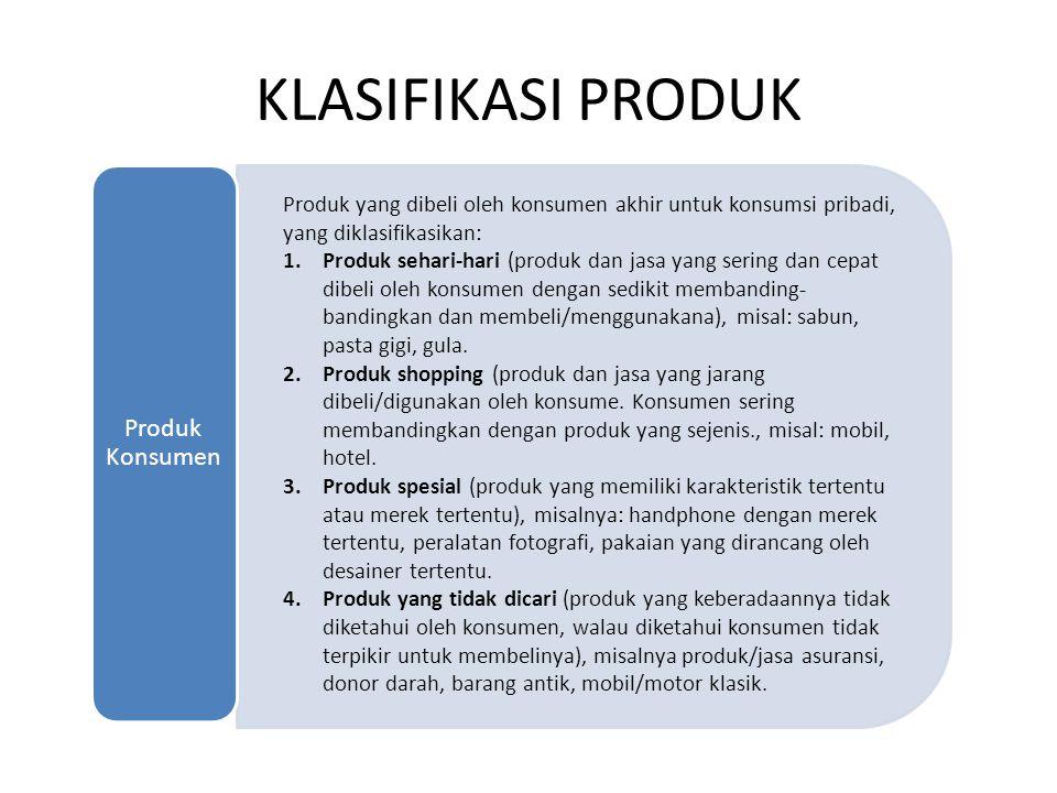 KLASIFIKASI PRODUK Produk Konsumen. Produk yang dibeli oleh konsumen akhir untuk konsumsi pribadi, yang diklasifikasikan: