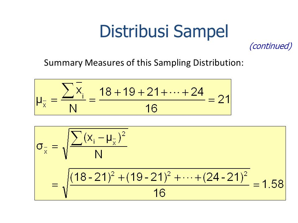 Summary Measures of this Sampling Distribution: