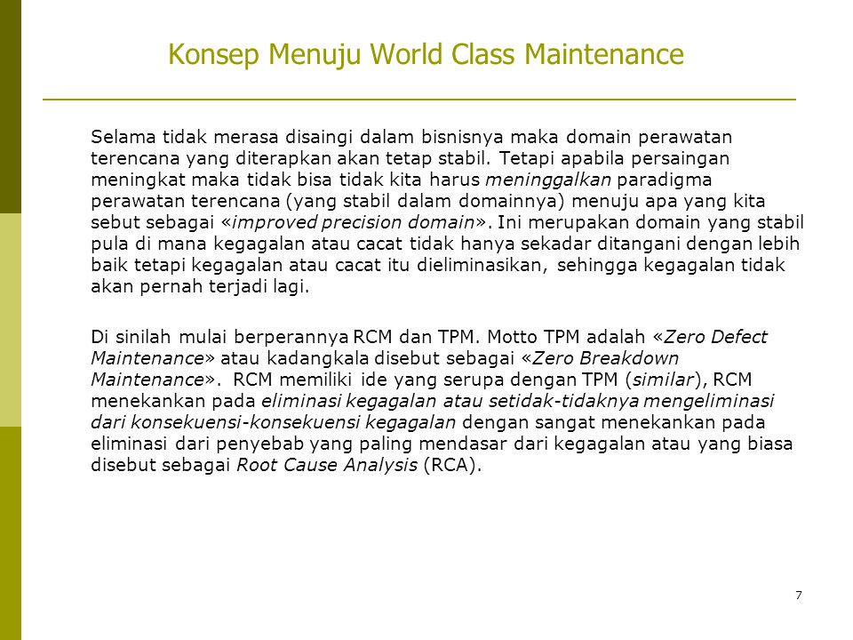 Konsep Menuju World Class Maintenance