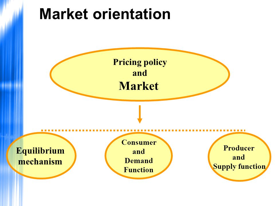 Market orientation Market Pricing policy and Equilibrium mechanism