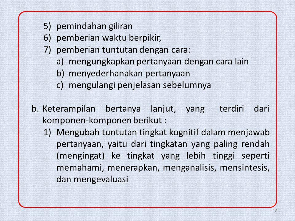 5) pemindahan giliran 6) pemberian waktu berpikir, 7) pemberian tuntutan dengan cara: a) mengungkapkan pertanyaan dengan cara lain.